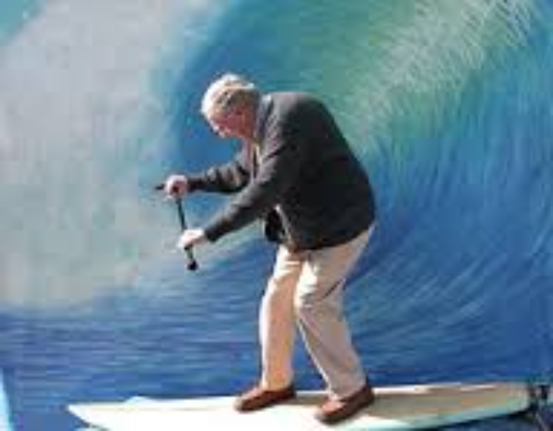 Elderly surfer dude