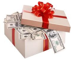 Gift box of money